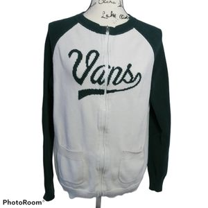 Vans Cream Black Knit Zip Cardigan Sweater M